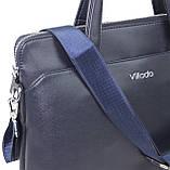 Жіноча ділова сумка, портфель з еко шкіри Villado синя, фото 7