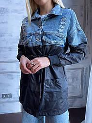 Жіноча комбінована джинсова куртка з плащевкой, куліса на талії