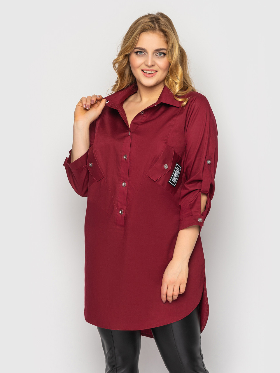 Рубашка женская больших размеров Стиль бордо