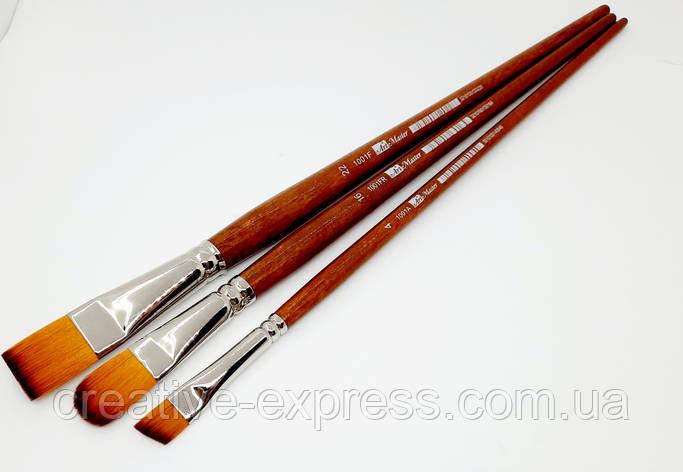 Синтетика овальна,№18 , к. р. пензель ART MASTER з коричневою ручкою, фото 2