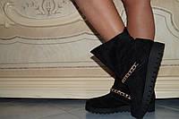 Женские замшевые стильные черные ботинки. АРТ-0137
