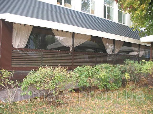 Шторы из прозрачной ПВХ ткани для летнего кафе