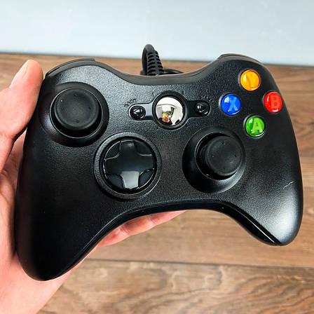 Джойстик Xbox 360 Controller проводной геймпад USB для икс бокс 360 черный, фото 2