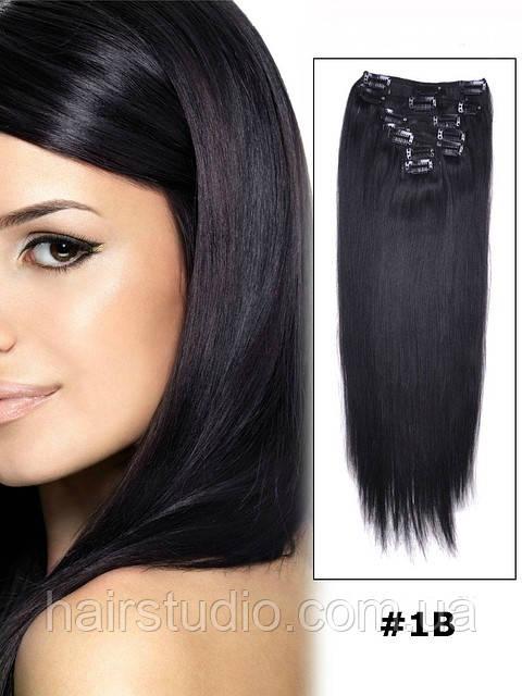 Натуральные волосы Remy на клипсах 55 см оттенок #1В 80 грамм