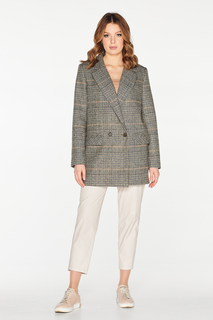 Жіноче демісезонне пальто-піджак у клітинку Д 908