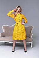 Платье молодежное из плотного штапеля жёлтого цвета размеры 44,46,48,50,52