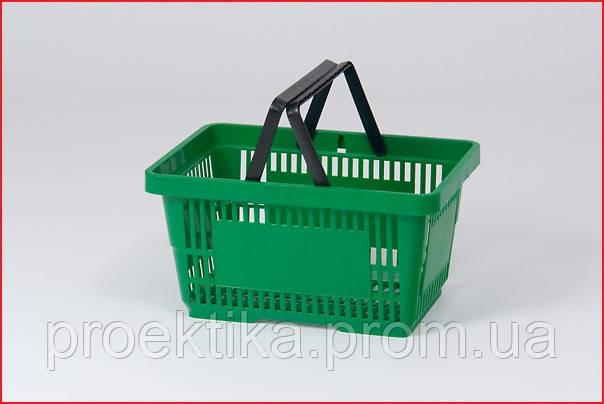 Корзина покупательская 20 л. Зеленый пластик.
