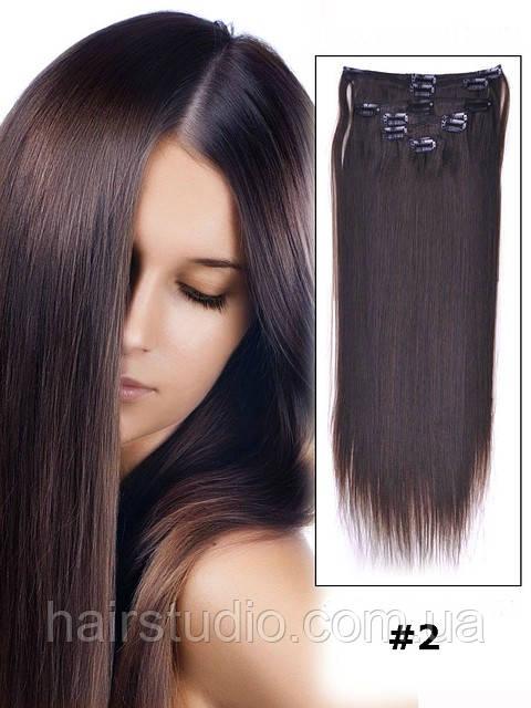 Прямые волосы Remy  на заколках для наращивания 55 см оттенок #2 80 грамм