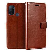 Чехол Fiji Leather для OnePlus Nord N100 книжка с визитницей темно-коричневый