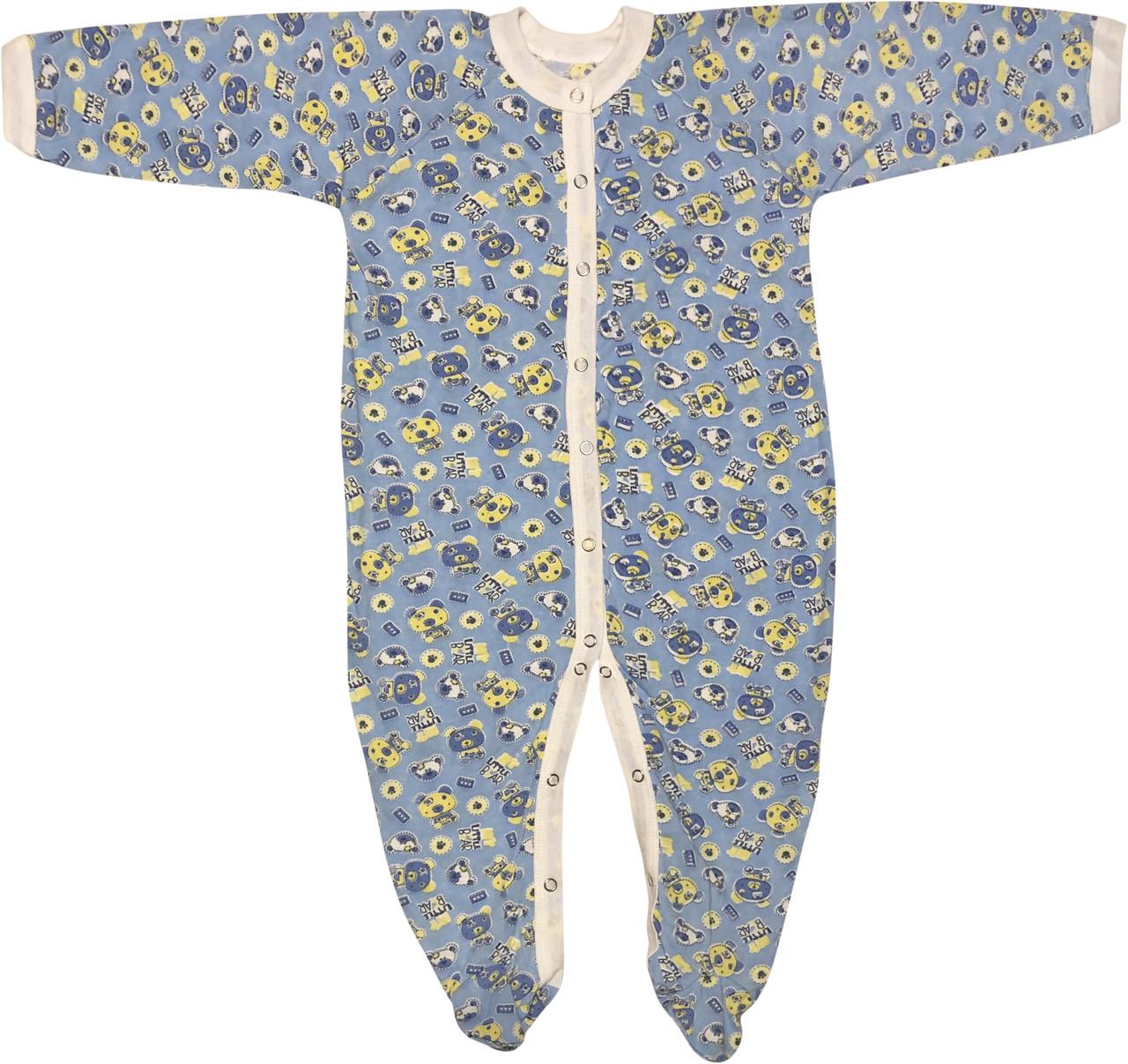 Тонкий человечек на мальчика рост 80 9-12 мес для новорожденных малышей детский слип хлопковый кулир голубой