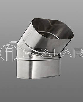 Колено 45˚ овальное 110/220 нержавеющая сталь 0.8 мм дымоходное (на широкую сторону)