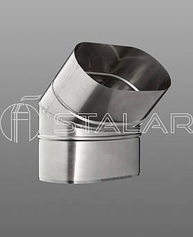 Колено 45˚овальное 120/240 нержавеющая сталь 0.8 мм дымоходное(на широкую сторону)