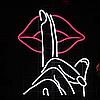 """Неоновая вывеска табличка """"Палец к губам """" 722 mm x 450 mm из гибкого неона"""