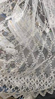 Кремовая короткая тюль с кордовой ниткой, высота 1,5 м ( 3109 - kr)