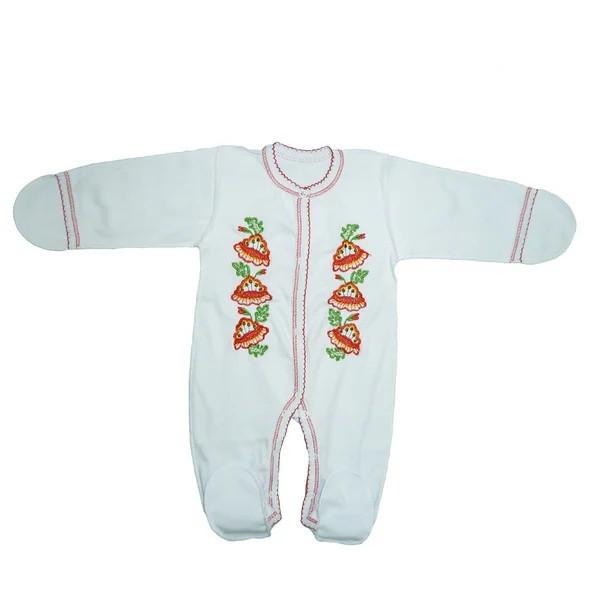 Комбинезон-вышиванка для новорожденных девочек 80-86 см. (интерлок)