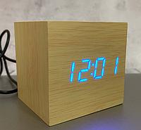 Настільний годинник VST-869-5 світле дерево з синім підсвічуванням