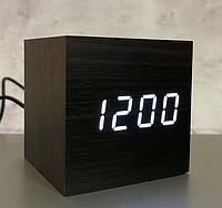Настільний годинник VST-869-6 темне дерево з білою підсвіткою