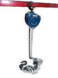 Лебедка механическая подвесная с лепестковым механизмом фиксации цепи натяжения, 2т (длина цепи - 3м)
