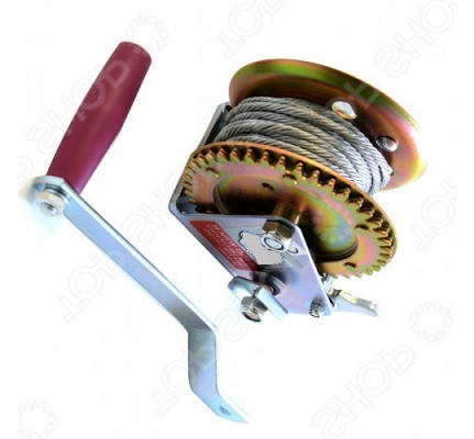 Лебедка ручная барабанная, 450кг(стальной трос, диаметр троса-4.5мм, длина троса-10м ), фото 2