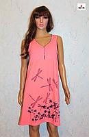 Женская ночная рубашка для беременных и кормящих мам розовая батал кулир 44-56р.