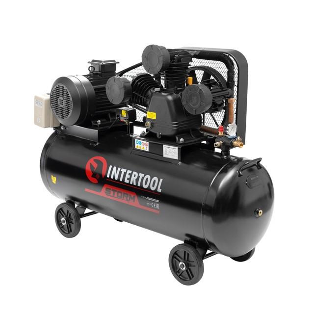 Компресор 200 л, 10 HP, 7,5 кВт, 380 В, 8 атм, 1050 л/хв. 3 циліндра INTERTOOL PT-0040