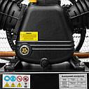 Компресор 200 л, 10 HP, 7,5 кВт, 380 В, 8 атм, 1050 л/хв. 3 циліндра INTERTOOL PT-0040, фото 4