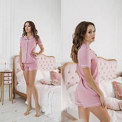 Женский домашний комплект-двойка: рубашка и шорты S-M, L-XL Diva SF-165pudra   1 шт.