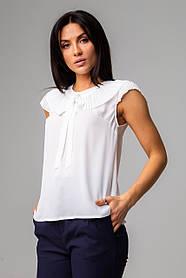 Нежная блуза с воротничком и коротким рукавом в 3 расцветках в размерах S/M и M/L. белый