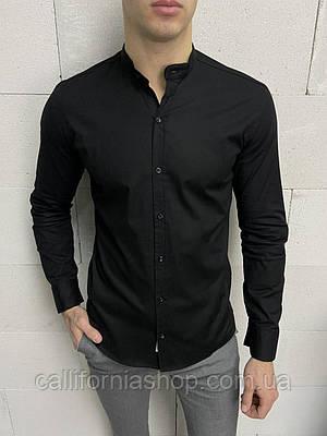 Рубашка мужская черная с воротником стойкой однотонная хлопковая Турция