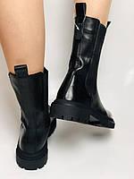 Женские осенние высокие ботинки Челси. Из натуральной кожи на низкой подошве. Р 36.38.40, фото 2