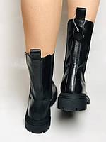 Женские осенние высокие ботинки Челси. Из натуральной кожи на низкой подошве. Р 36.38.40, фото 4