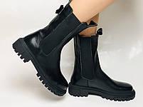 Женские осенние высокие ботинки Челси. Из натуральной кожи на низкой подошве. Р 36.38.40, фото 3