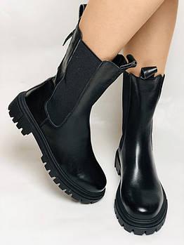 Женские осенние высокие ботинки Челси. Из натуральной кожи на низкой подошве. Р 36.38.40
