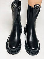 Женские осенние высокие ботинки Челси. Из натуральной кожи на низкой подошве. Р 36.38.40, фото 6