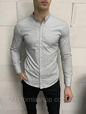 Рубашка мужская серая с воротником стойкой однотонная хлопковая Турция