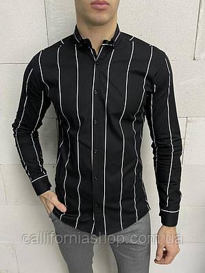Рубашка мужская черная в белую полоску с длинным рукавом Турция