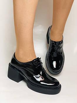 Стильные женские туфли. Натуральная лакированная кожа. Средний каблук. Размер 35.36.37.38.39.40