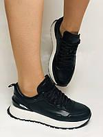 Farinni. Натуральная кожа. Женские черные кеды-кроссовки на белой подошве. Размер 36.37.39., фото 6