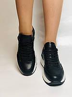 Farinni. Натуральная кожа. Женские черные кеды-кроссовки на белой подошве. Размер 36.37.39., фото 4