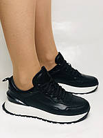 Farinni. Натуральная кожа. Женские черные кеды-кроссовки на белой подошве. Размер 36.37.39., фото 5