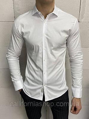 Рубашка мужская классическая белая хлопковая турецкая