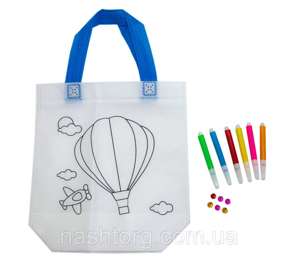 Сумка разрисовка для девочек 24х10х22 см с принтом воздушный шар для детей (Z03), с пайетками детская (NT)