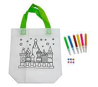 Сумка розмальовка антистрес 24х10х22 см з принтом замку (Z11), сумочка для дівчинки   сумка раскраска