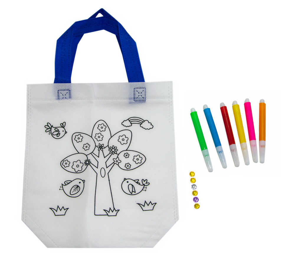 Дитяча сумка розмальовка 24х10х22 см з принтом дерева (Z12), розмальовки для дітей   сумка раскраска