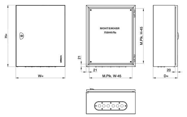 Щит монтажный навесной электрический распределительный с монтажной панелью
