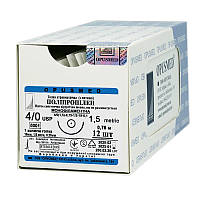 Полипропилен монофиламентный USP (EP) : 4/0 (1,5), 0,75м, колющая иголка 19 мм 1/2, шовный материал, OPUSMED
