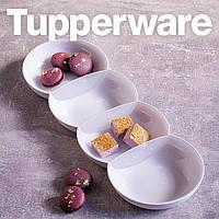 Tupperware менажниця біла з перламутром з білою кришкою