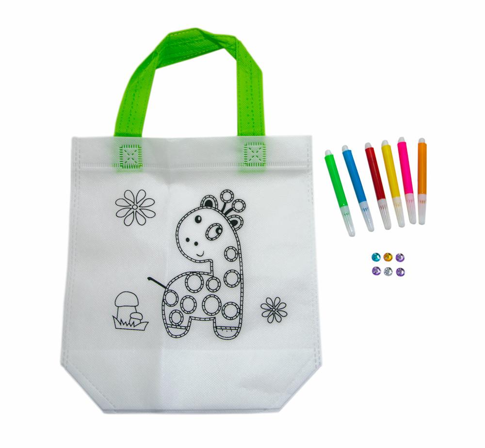 Детская сумка раскраска 24х10х22 см с принтом жирафа (Z07), сумка с пайетками для девочек | розмальовка (GK)