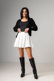Короткая юбка-солнце в черном и белом цвете в размерах: S, M, L, XL. белый