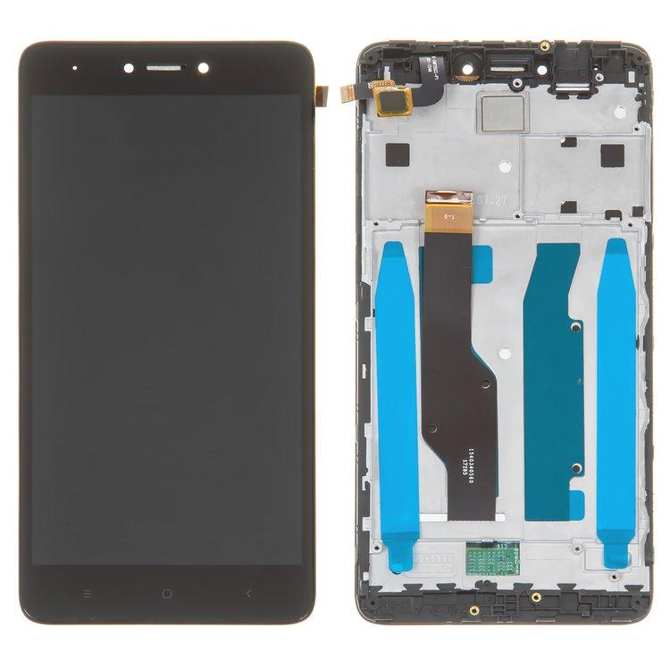 Дисплей (экран) для Xiaomi Redmi Note 4X с сенсором (тачскрином) и рамкой черный Оригинал